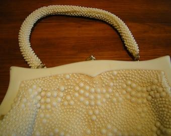 vintage purse-white purse-beaded purse-hand bag-hand made-Hong Kong-retro-