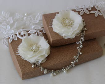 Wedding Hair Chain - Flower Hair Combs - Head Chains Jewelry -  Pearl Hair Chains - Bohemian Headpiece
