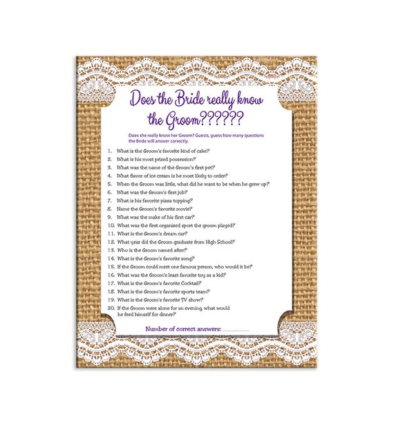 Printable Instant Download Game Does The Bride Really Know