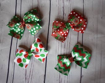 Pack of 4 Christmas Hair Bows