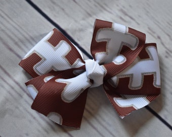 Football Print Boutique Style Hair Bow