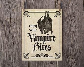 8x10 Printable Halloween Art, Halloween Print, Enjoy Some Vampire Bites, Halloween Party Sign, Haunted House Sign, Printable Halloween Decor