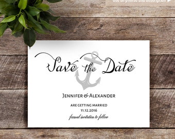 Save the Date, Printable wedding templates, Save the date card, Instant download self editable PDF S117