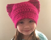 Custom Order For CARISSA - Adult Woman Baton Rouge Fuchsia Pink Pussyhat - kitty Cat Hat - Pussy Hat Beanie