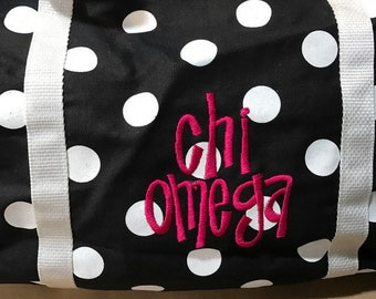 Chi Omega Fabric Duffle Bag