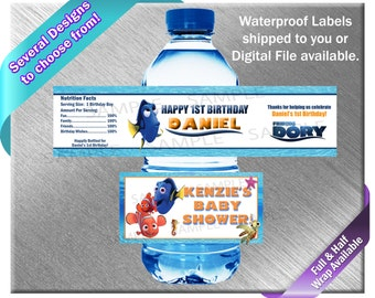 Finding Nemo Water Bottle Labels - PRINTED OR FILE - Birthday Party Supplies Favors