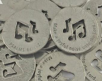 Make a Joyful Noise - Psalms 66:1-2 Scripture Coin - SET OF 10
