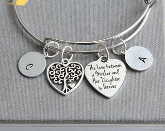 Mother Bracelet, Bangle Bracelet, Mother Daughter Bracelet, Mothers gift from daughter, Personalized Bracelet, Christmas Gift for Mother