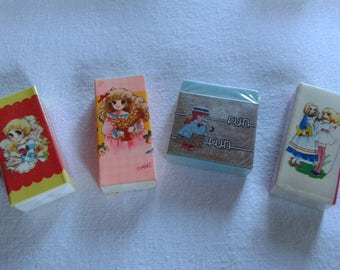 Vintage japanese erasers, big eye girl vintage anime, showa shojo erasers