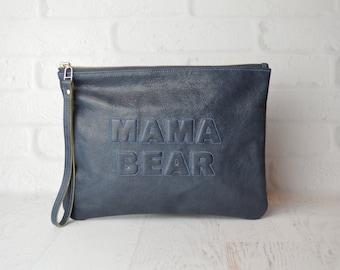 MAMA BEAR leather clutch Grey Blue glazed goat, Leather Pouch, leather clutch , iPad pouch, diaper bag organizer , baby bag , new mom gift