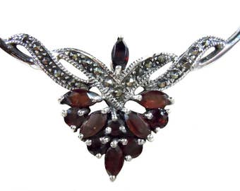 925 Sterling garnet necklace with marcasite BE9823G