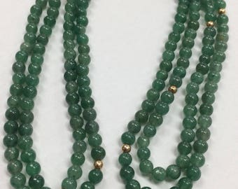 """Vintage Jade and 14k Gold 37"""" Beaded Necklace"""