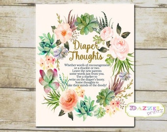 Boho Diaper Thoughts Baby Shower Sign, Floral Watercolor Printable Diaper Thoughts Sign for Baby INSTANT download - 7265