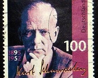 Kurt Schumacher 1895-1952, Germany -Handmade Framed Postage Stamp Art 21380AM