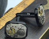 Gunmetal Square Steampunk cufflinks - Cuff Links  artistic jewelry -The Victorian Magpie