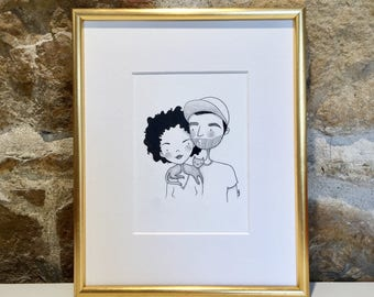 RITA Benedict & GASTON - original Ink Illustration - Couple with cat - unique design