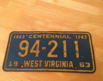 Vintage 1963 License Plate