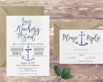The Love Anchors the Soul Wedding Invitation and RSVP Set, Nautical Wedding Invitation, Anchor Wedding Invite, Customized Invitation