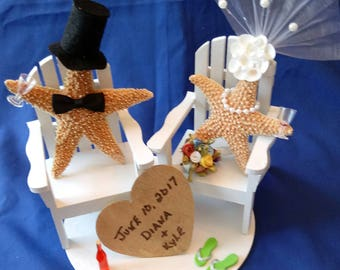 Nautical Wedding Cake Topper - Beach Wedding Cake