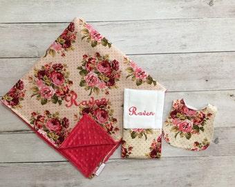Vintage Personalized Baby Blanket, Bib and Burp Cloth Set