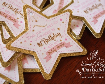 Pink and Gold Glittery Star Tags / Pink and Gold Star Favor Tags / Twinkle Twinkle Little Star Tags / Star Thank You Tags / Star Gift Tags