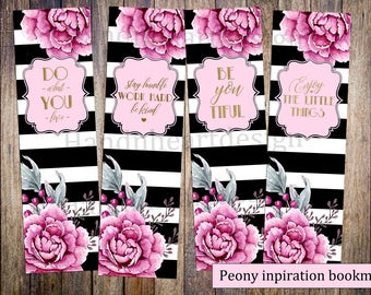 Printable bookmarks,black and white stripes with pink peonies,book lovers,inspirational bookmarks,flowers,quotes,gold foil font