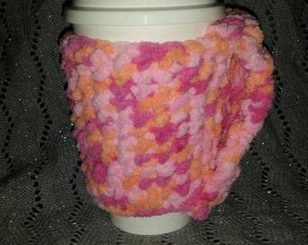 Peachy Pink Fleecy Cup Cozy, Handmade, Crochet