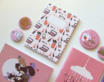 Make up addicted Journal - Pocket size Notebook  - Pattern - Blank Pages
