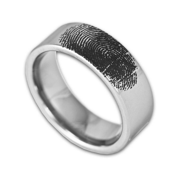 Custom Engraved Fingerprint Wedding Band Mens 8MM Tungsten