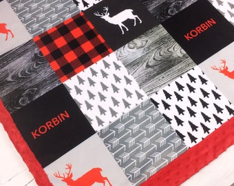 Personalized Baby Blanket, Red black Minky blanket deer arrows plaid lumberjack blanket, baby shower gift, boy blanket, birth gift blanket