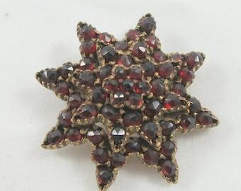 Antique Victorian Garnet Brooch Pin in Eight-Point Star