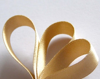 """70mm (3"""") HONEY GOLD    (Light Gold)Double Satin Ribbon  -  2 Metres Ideal for Sashes or Belts"""
