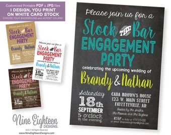 Stock The Bar Engagement Party INVITATION. Customized Printable PDF/JPG