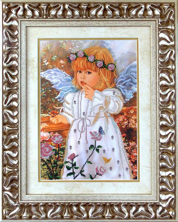 Angel Bead embroidery DIY beading kit Unique housewarming gift idea wall hanging, needlepoint craft set