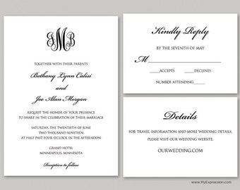 Elegant Monogram Wedding Invitation Set (9089) - INSTANT DOWNLOAD - Ready to Print - Editable PDF
