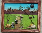 """Pebble Art, Rock Art, Hiking, Mountains, Friends, Family, Vacation, Father's Day, Hiking Trail, """"open"""" 8.5x11 frame, (FREE SHIPPING)"""