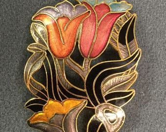 Big Colorful Cloisonné Flower Brooch/Free shipping