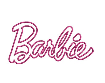 barbie logo applique machine embroidery multiple sizes digital download