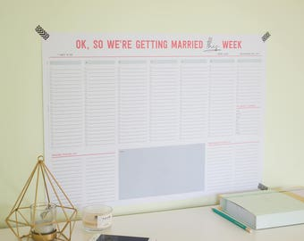 Wedding Wall Planner. 1 Week Planner. Track Last Minute Wedding Tasks. A2 Poster Print.