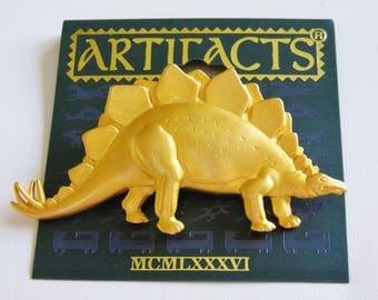 JJ Jonette  Gold Tone Prehistoric Dinosaur Brooch Pin