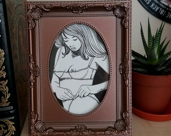 Boudoir Lingerie Original Illustration Framed
