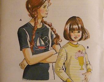 Vintage Girls' Long / Short Sleeve T-Shirt Uncut Kwik Sew Sewing Pattern 702 Size 8 10 12 14
