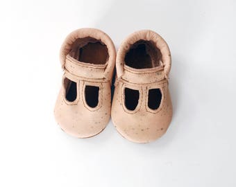 t-straps / soft soled shoes / baby moccasins moccs/ loafers / copper dots