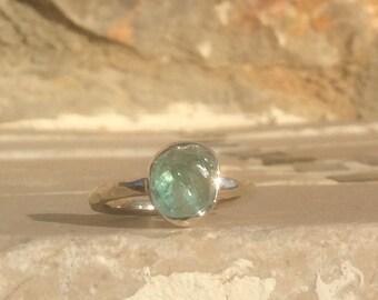 Apatite Silver Ring, US 7, Raw Apatite Ring, Rough Gemstone Ring, Rough Green Apatite Ring, Natural Gemstone Silver Ring, Boho Silver Ring