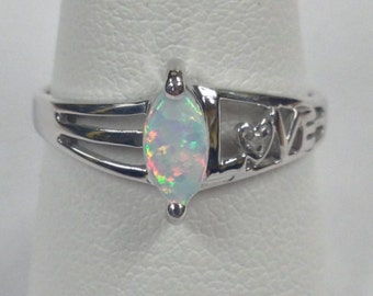 """Created Opal with Natural Diamond """"LOVE"""" Ring 925 Sterling Silver"""