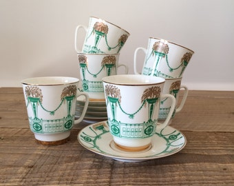 Vintage Set of Lomonosov Demitasse Cups and Saucers