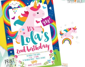 Printable Digital Personalised UNICORN RAINBOW Birthday Party Invitation Invites Stationary
