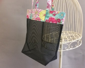 Mesh Tote. Colorful Bag with Long Shoulder Straps. Project, Market or Beach Bag. From MDS Creative.