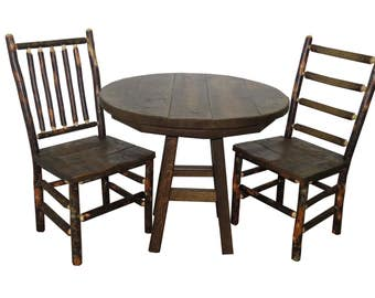 "Barnwood 3 Piece Set with 36"" Round Table and 2 Rustic Hickory & Barnwood Chairs"