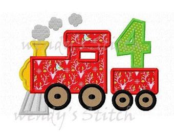 Train birthday number 4 applique machine embroidery design